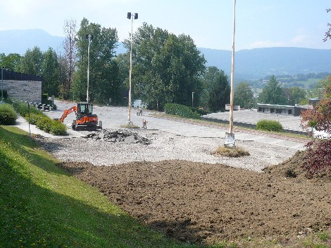 Le parking central du campus de Jacob-Bellecombette en cours de requalification