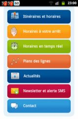 Copie d'écran d'un site mobile (SIBRA)