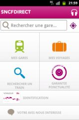 Copie d'écran d'une application (SNCF Direct)