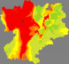 Carte de la pollution de l'air en Rhône-Alpes le 1er mars 2012