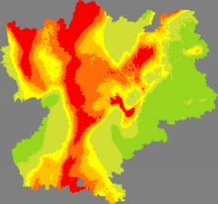 Carte de la pollution de l'air en Rhône-Alpes le 2 mars 2012