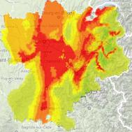 Carte de la pollution de l'air en Rhône-Alpes le 11 février 2012